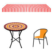 Striped red and white shop window awning and vintage outdoor table and chairRound table and chair vector