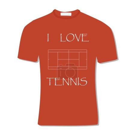 Orange t-shirt with text i love tennis