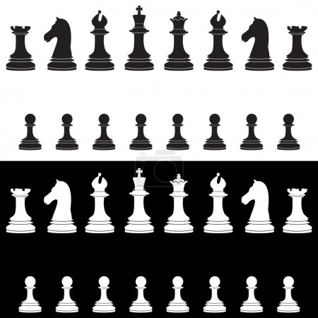 Black and white chess pieces full collection