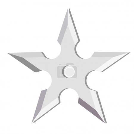 Illustration for Ninja throwing star isolated on white, shuriken, weapon - Royalty Free Image