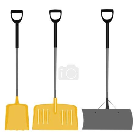 Illustration pour Pelle à neige, pelle jaune, outil à main, creusement, pelle à neige isolée, pelle à neige grise - image libre de droit