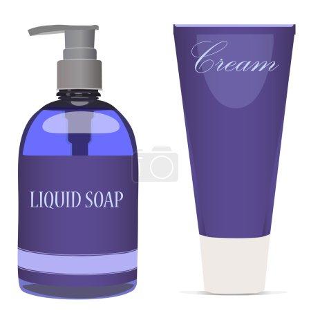 Purple liquid soap bottle and cream tube