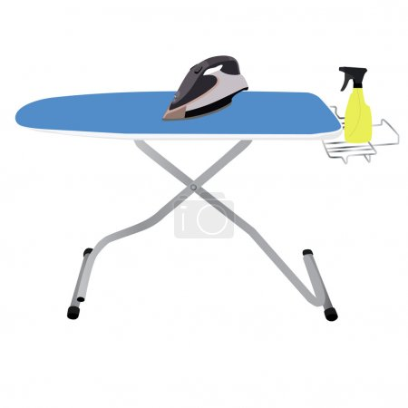 Ironing board, iron and spray