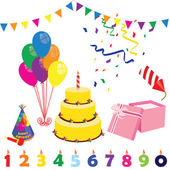 Birthday party elements- birthday hat cake candles balloons gift box and petard Surprise party Party and celebration