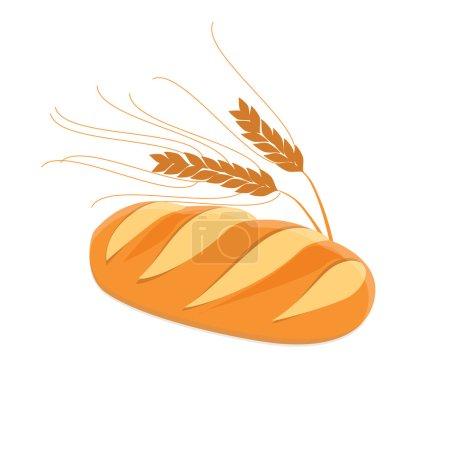 Illustration pour Pain et épis de blé illustration vectorielle. Du pain blanc et savoureux. Pain frais - image libre de droit
