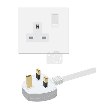 Illustration pour Prise uk électrique et illustration vectorielle de prise. Symboles électriques - image libre de droit
