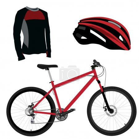 Red bicycle, helmet and shirt