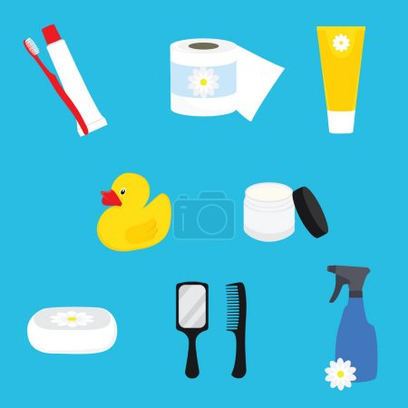 Illustration for Hygienic set of flat vector items. Bathroom accesories. Vector hygiene and cleaning products flat icons.Toilet paper, toothpaste and toothbrush, cream, soap, mirror and comb - Royalty Free Image