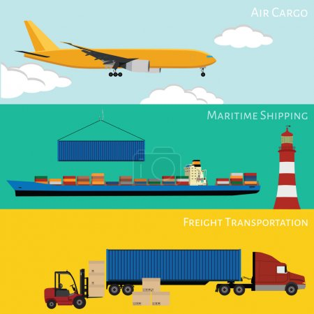 Illustration for Vector illustration of logistic network concept. Airmail, maritime shipping, road transportation on-time delivery flat icons set - Royalty Free Image