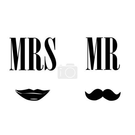 Illustration pour Mesdames et messieurs illustration vectorielle silhouette noire lèvres baiser et moustache. Symboles Mrs et mr - image libre de droit