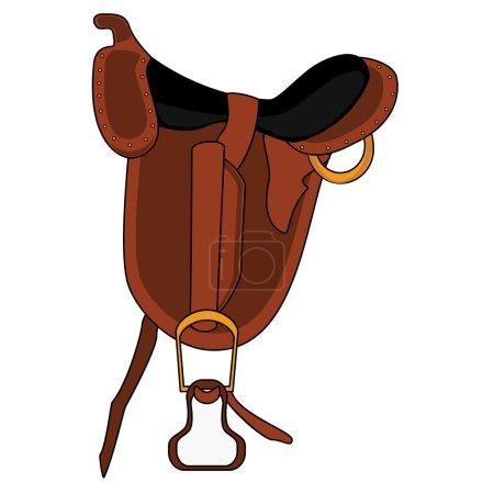 Brown leather saddle