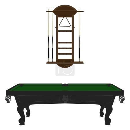 Pool table and rack