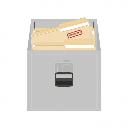 Vector illustration opened card catalog with file ...