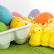Colored Easter eggs and yellow chicks...