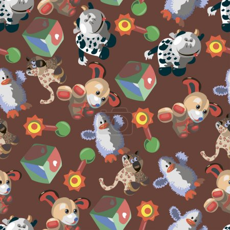 Seamless pattern with different childrens cartoon toys