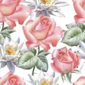 "Постер, картина, фотообои ""Seamless pattern with watercolor flowers. Rose and lily. """