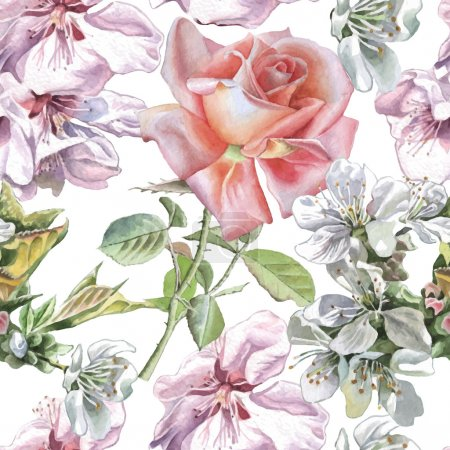 Seamless pattern with watercolor flowers.