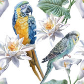 Seamless pattern with flowers and birds  Vector Watercolor Hand drawn