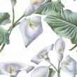 Seamless pattern with watercolor calla. Vector. Ha...