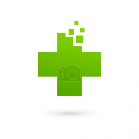 Medical logo icon design template with cross and plus