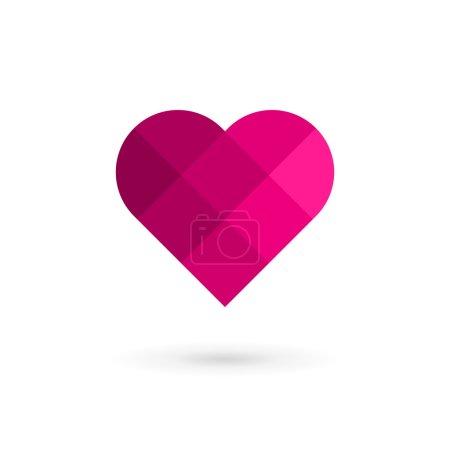 Mosaic heart symbol logo icon