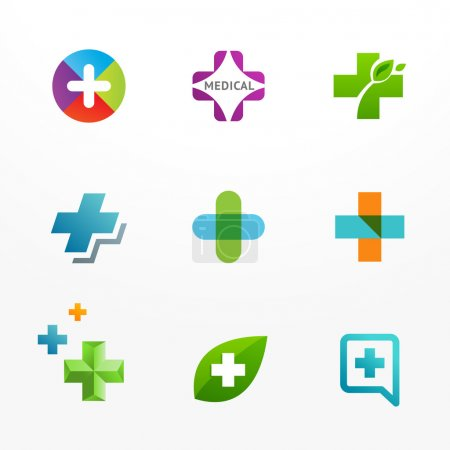 Vector set of medical logo icons with cross and plus