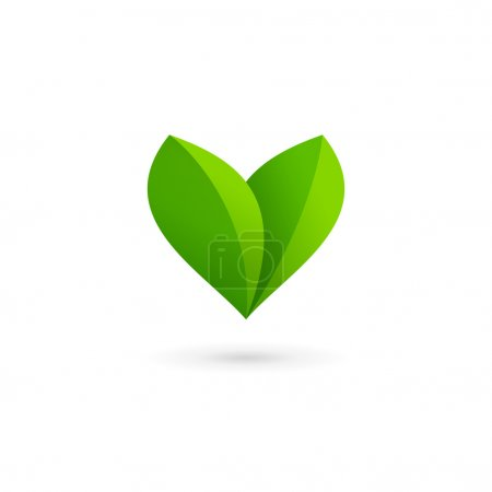 Letter V heart eco leaves logo icon design template elements
