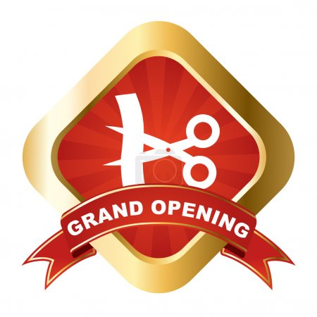 Photo for This is red - gold vector sign grand opening - Royalty Free Image
