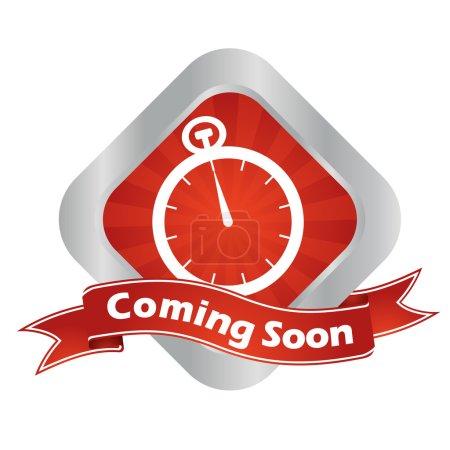 Illustration pour C'est rouge - signe vectoriel argenté à venir bientôt - image libre de droit