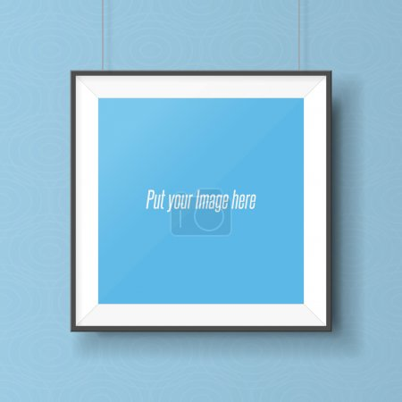 Photo for Realistic square picture frame on the wall. Empty Template ready for your Design - Royalty Free Image