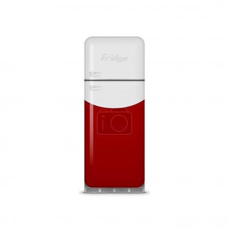Realistic vintage red and white Fridge