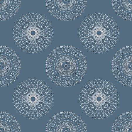 Illustration pour Modèle sans couture blanc et bleu avec des éléments circulaires - image libre de droit