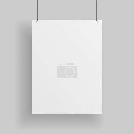 Illustration for Blank white paper Page hanging against grey Background. Empty white vector paper Mockup - Royalty Free Image