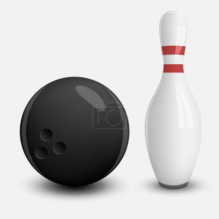 Realistic vector Ball and Pin of Bowling