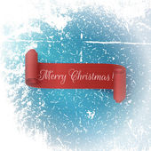 Realistic scroll red Ribbon Merry Christmas
