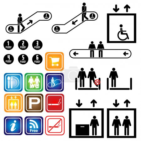 Elevator. escalator. Sign. Department. Vector. Illustration. set.