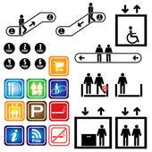 Elevator escalator Sign Department Vector Illustration set