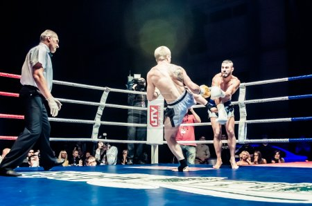 Fight for the championship belt of Europe kick-boxing