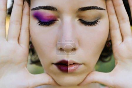 Photo pour Gros plan portrait avec moitié visage de maquillage de jeune fille beautyful - image libre de droit