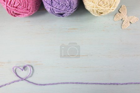 Wool or yarn duck egg crafts background.