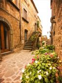 Beautiful alley in Civita di Bagnoregio, Lazio, Italy