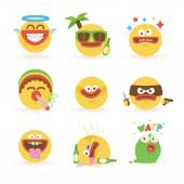 Cartoon Freaky Faces Smiley Emoticons Set 1
