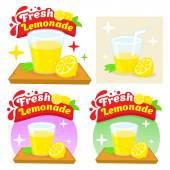 Fresh Lemonade Lemon Juice Comic Cartoon Flat Vector Illustration Logo Template Isolated on white