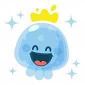 Funny Happy Yummy Jellyfish icon clip art vector illustration on white