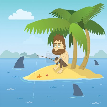 Illustration for Vector illustration of a shipwrecked person who has found himself stranded on a desert island with no chance of escape. - Royalty Free Image
