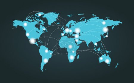 Illustration for World map connection background to represent internet concept. - Royalty Free Image