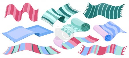 Illustration for Carpet collection, floor rugs with tassels and striped pattern. Vector cartoon set of rectangle cloth mats for home interior and picnic, rolled up cotton woven carpets isolated on white background - Royalty Free Image