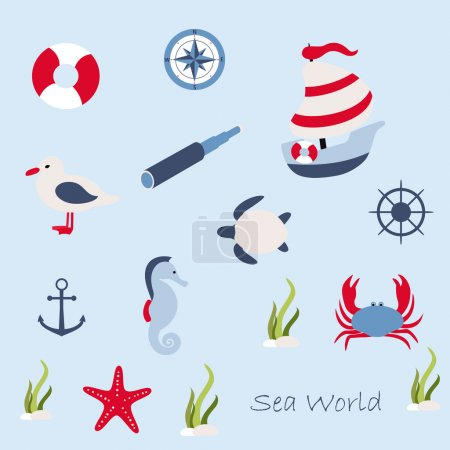 Illustration for Vector illustration in marine style - set icons. Element design - Royalty Free Image
