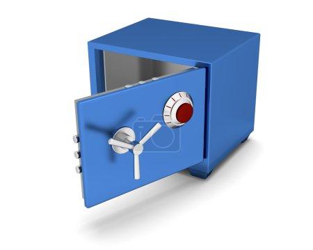 Photo pour Coffre-fort couleur bleue sur fond blanc. 3d rendu - image libre de droit