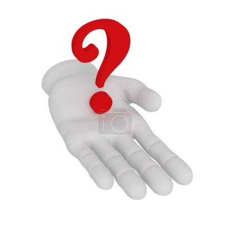 Photo pour 3D blanc main ouverte humaine détient le point d'interrogation. Fond blanc. - image libre de droit